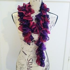 Red & Purple Sparkly Ruffle Scarf